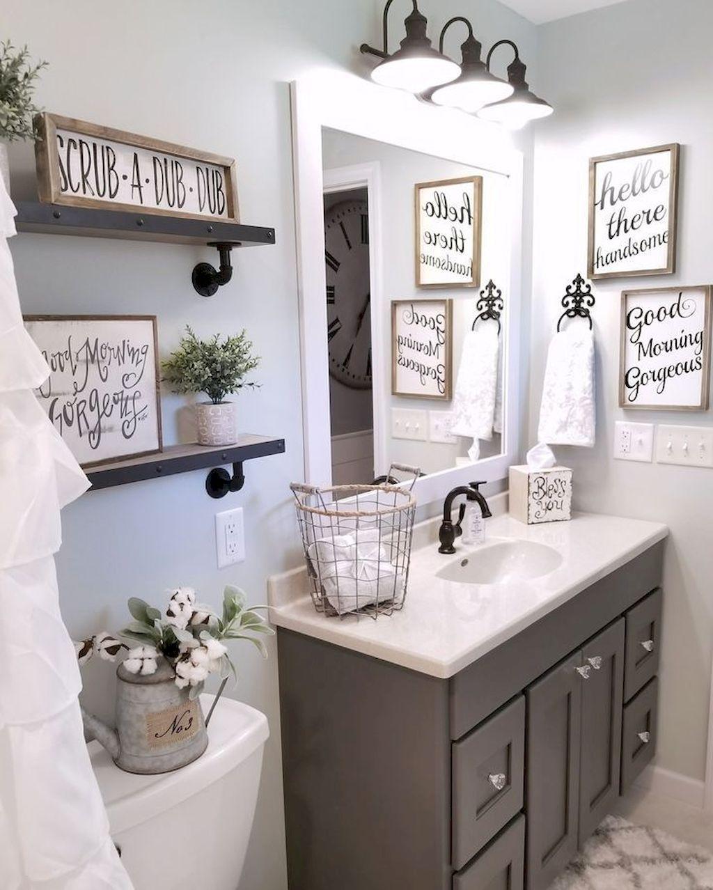 bathroom decorating ideas gorgeous 110 spectacular farmhouse bathroom decor ideas  https://roomadness.com/2017/12/15/110-spectacular-farmhouse-bathroom-decor- ideas/ UMEAOFE