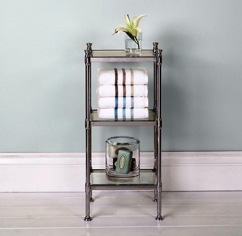 Turn to the bathroom etageres as a storage and solution for the mess