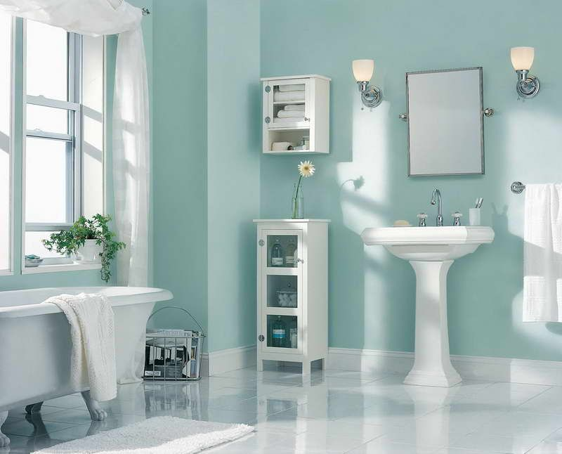 bathroom paint ideas painting color ideas bathroom with white drapery and light blue walls RBKLYFW