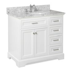 bathroom vanity kitchen bath collection - aria bath vanity, white, carrara marble, 36 UVLLESI