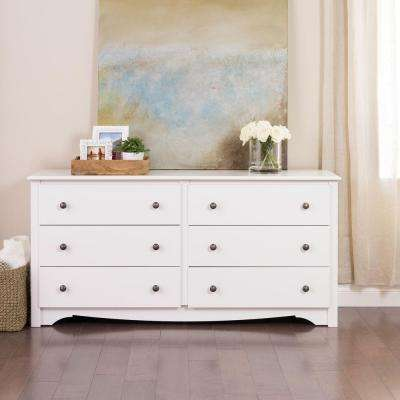 bedroom dressers monterey 6-drawer white dresser VSJPIOJ