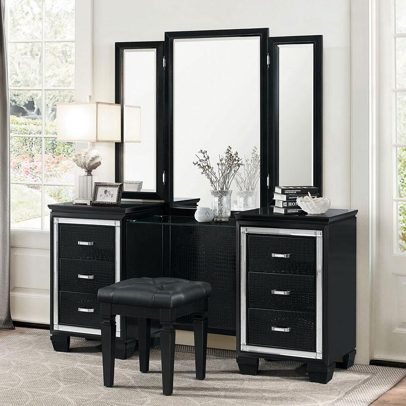 bedroom vanity allura vanity dresser w/ mirror (black) NMEHMRU