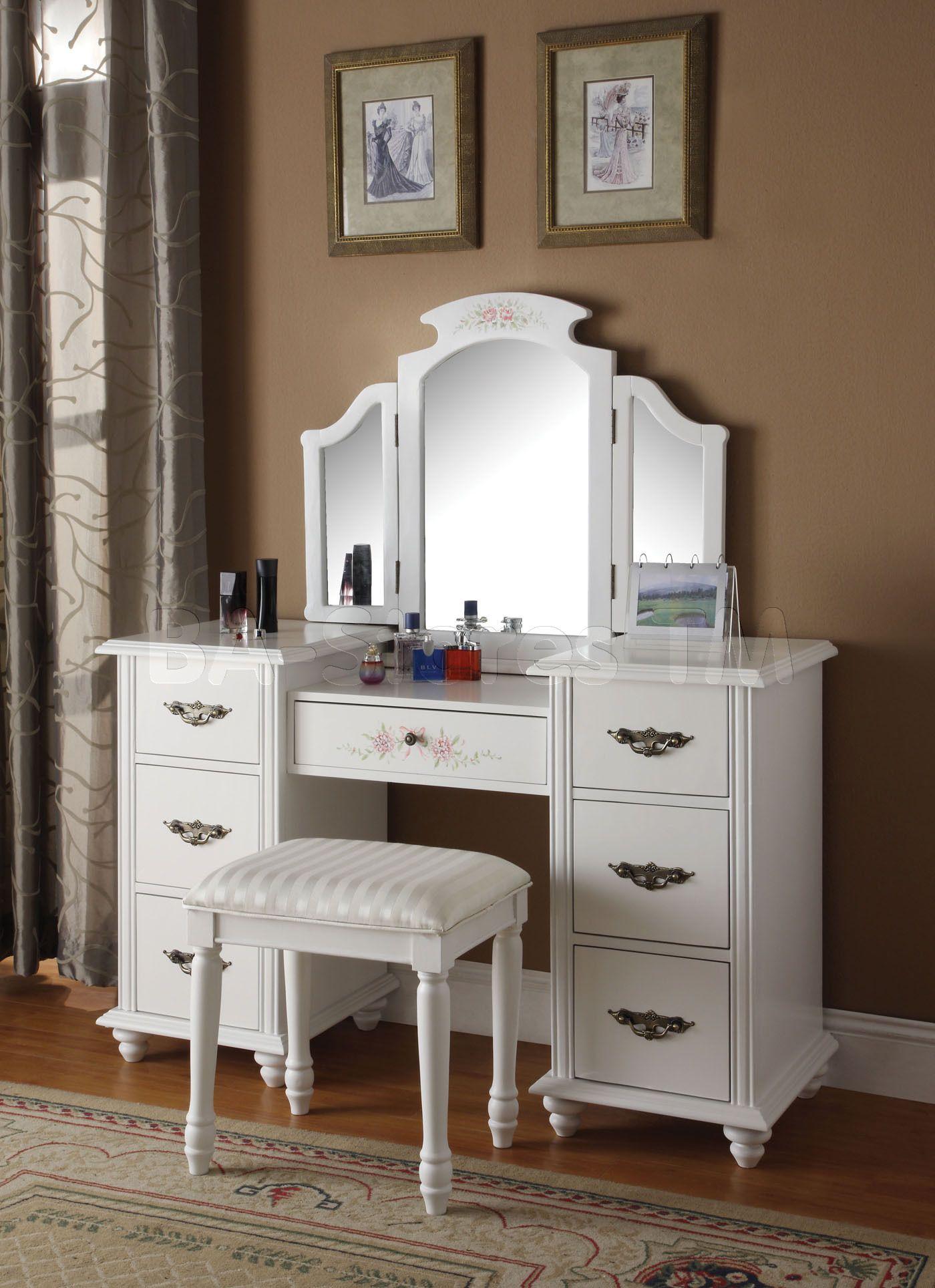 bedroom vanity | vanities and mirrors: torian white tri-fold vanity mirror COFXBYF