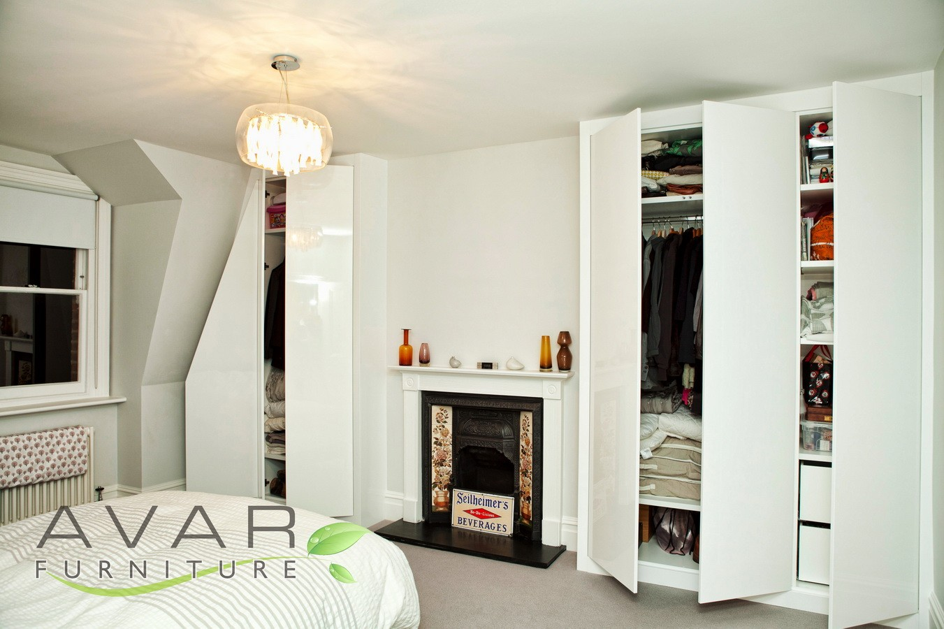 bedroom wardrobes ideas fitted high gloss bedroom furniture, london, doors opened HBYXQVM