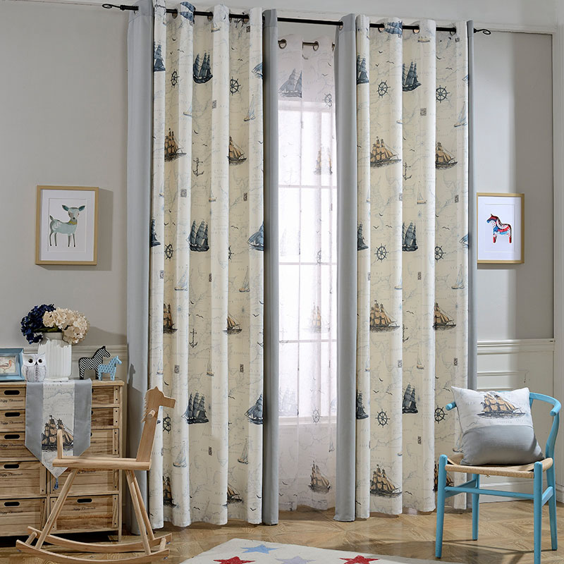 beige and gray anchor nautical curtains for childrens room HQZFAYK