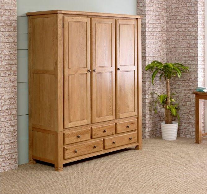 birlea woodstock oak wardrobe - 3 door 5 drawer YJIKOSO
