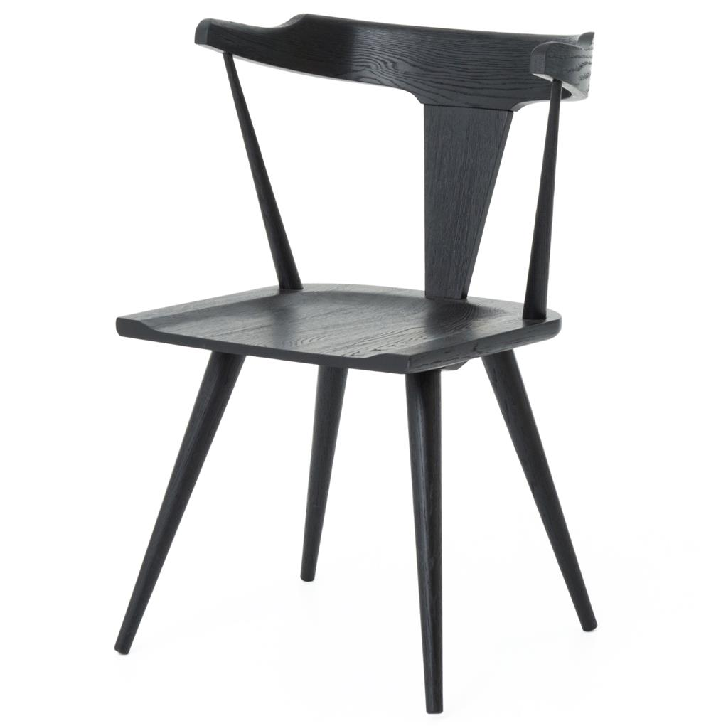 black dining chairs tenly mid century modern black oak barrel back dining chair - FQDSYVU