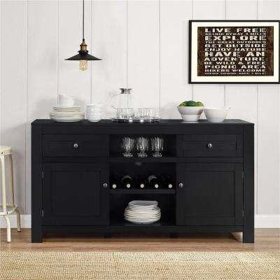 black furniture hadley black buffet with wine storage AOFBNTX