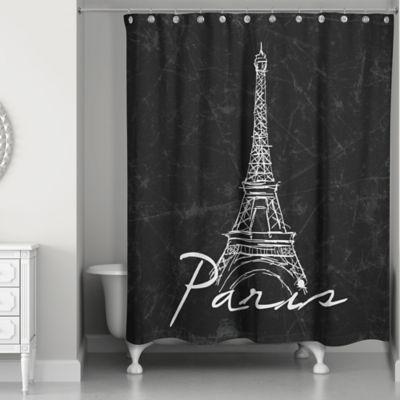 black shower curtain designs direct eiffel tower sketch shower curtain in black/white JLLCFZY