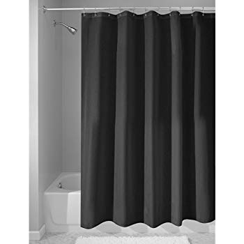 black shower curtain interdesign mildew-free water-repellent fabric shower curtain, long, 72-inch MGGVICW