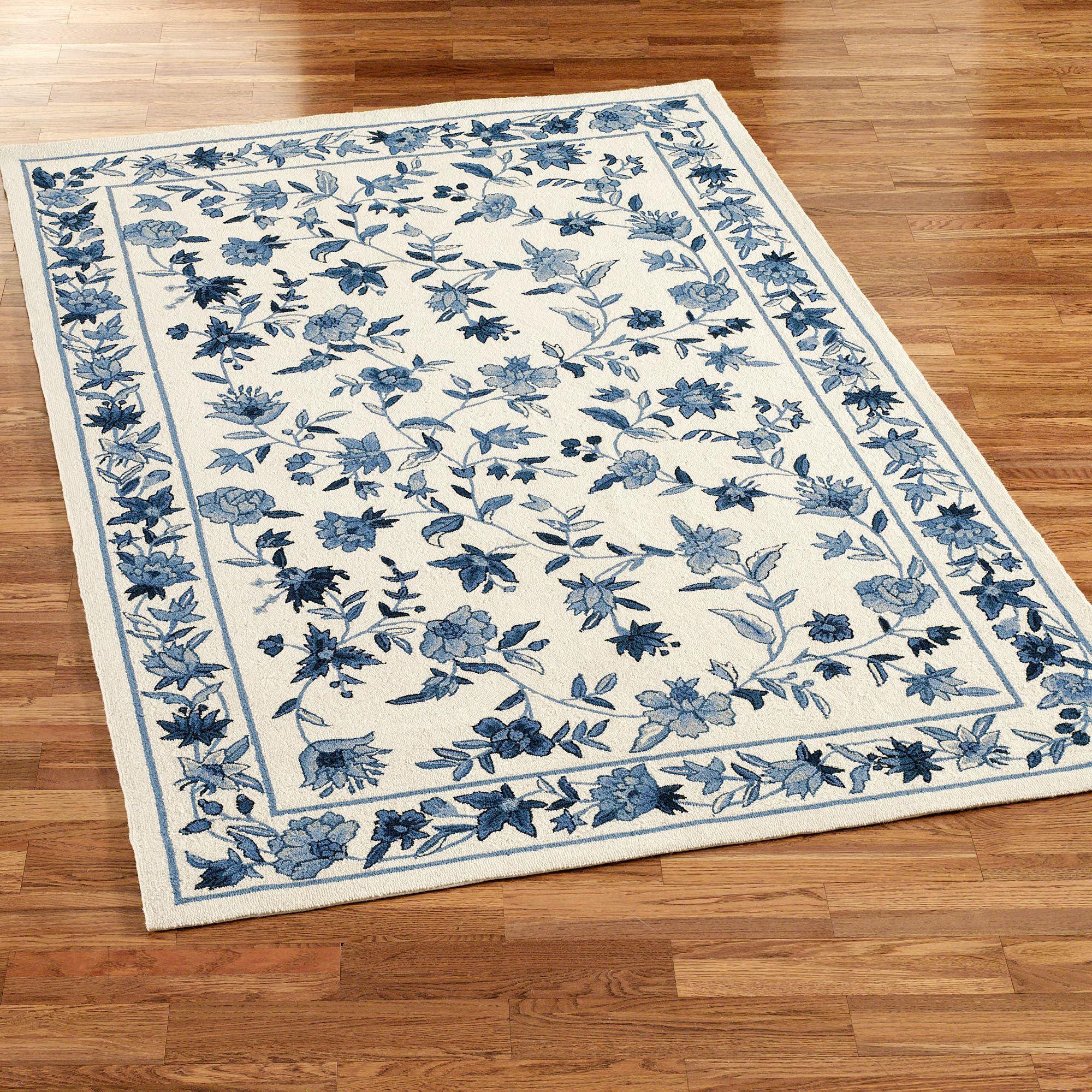 blue area rugs bonnie blue rectangle rug ivory/blue JXVXDFN