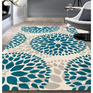 blue area rugs osti modern floral design blue area rug ... SZAQFYV