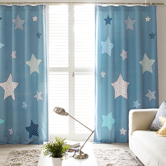blue star print poly/cotton insulated cute kids curtains FWLDCXO