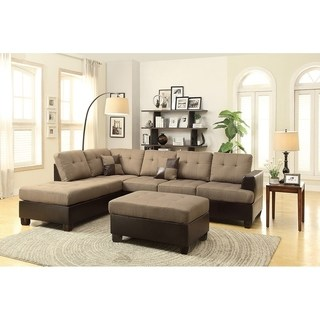 bobkona 3-pcs sectional sofa w/ polyfiber. matching ottoman included. RPRUFHC