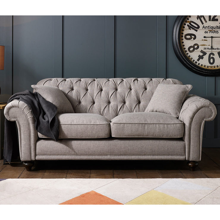 bordeaux button back 2 seater grey fabric sofa with 2 accent MCRKIYP