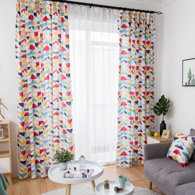 bright colorful geometric printed linen and cotton kids curtains CSSRRUN