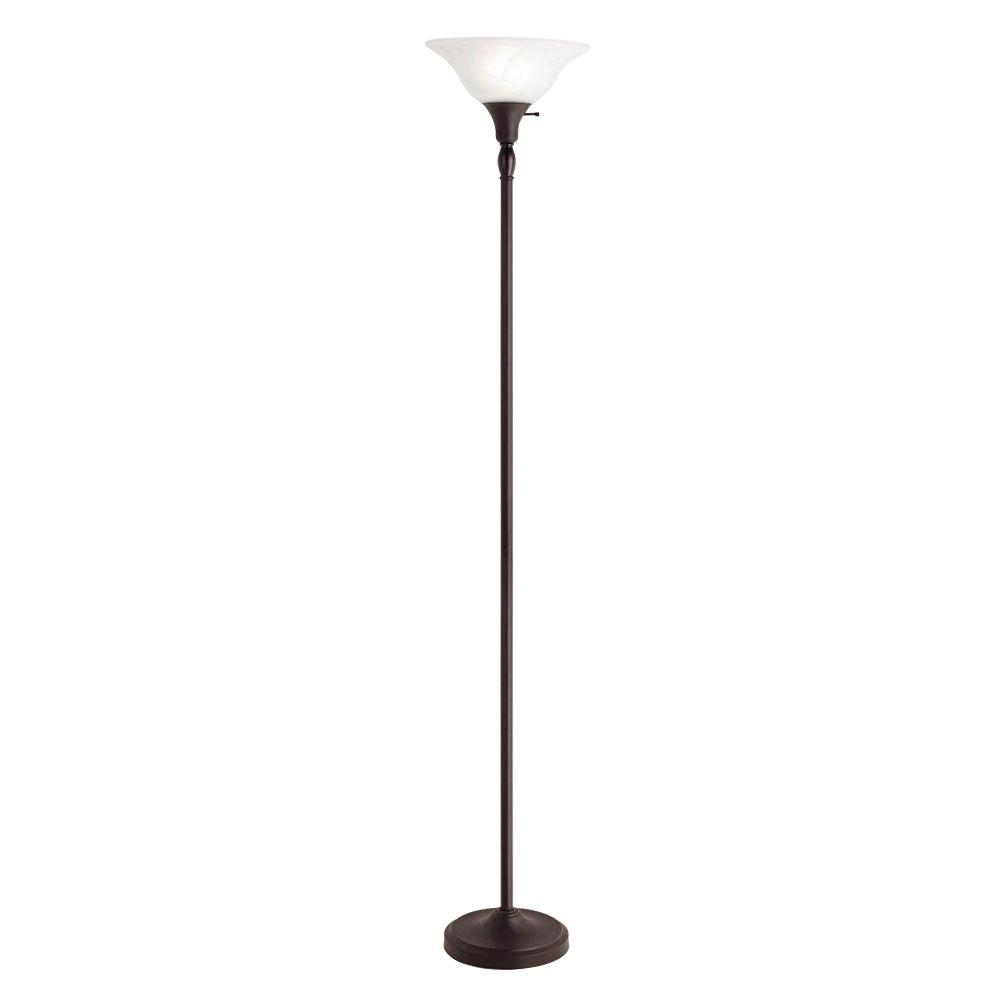 bronze torchiere floor lamp with frosted glass shade SMQKADG