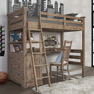 bunk beds with desk bryon industrial loft twin bed with 4 drawer chest QZDTJSA