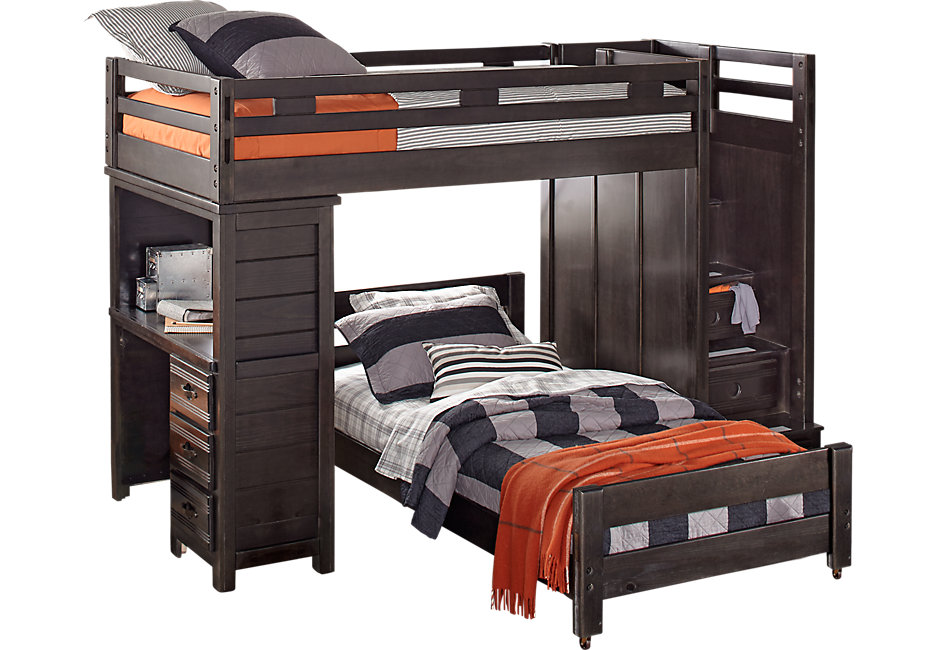 bunk beds with desk creekside charcoal twin twin step bunk bed with desk - beds EUQAXOQ