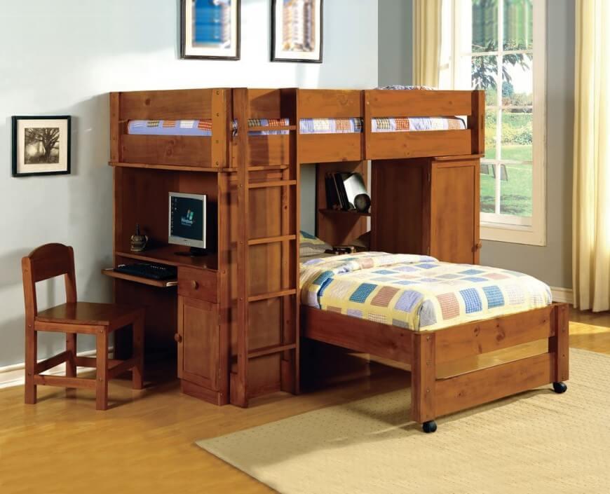 bunk beds with desk dark walnut bunk bed with computer desk. TXEYONL