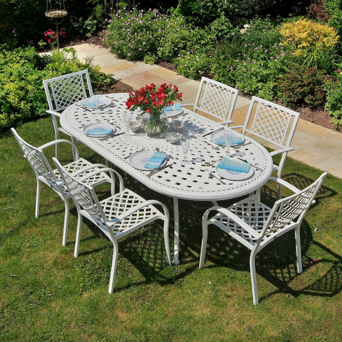 cast aluminium garden furniture white catherine oval cast aluminium garden table | lazy susan VQHLCQY