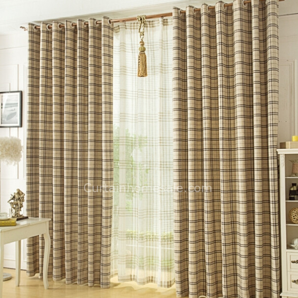 cheapest plaid curtains of linen and yarn materials of drapes QEFSMHL