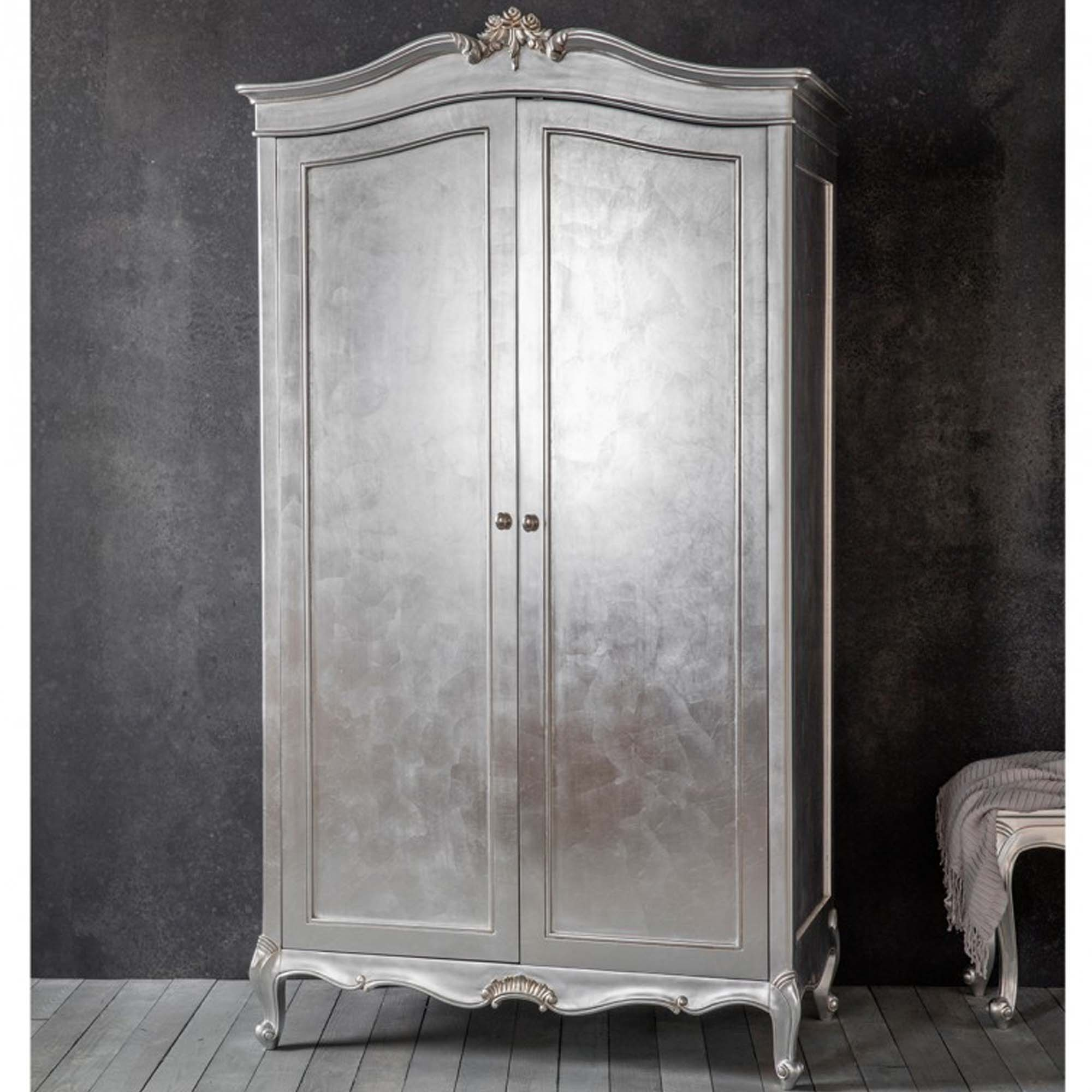 chic silver 2 door shabby chic wardrobe LOWHMBI