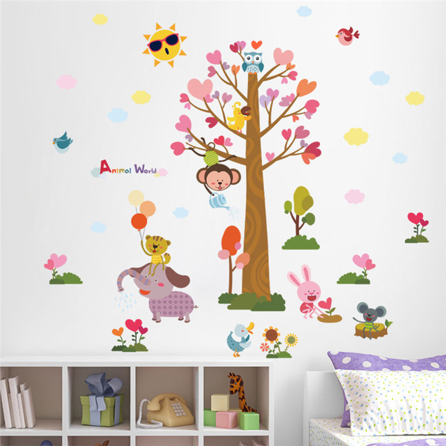 children wall stickers % cartoon animals world tree monkey owl bird wall stickers for CQJXHIS