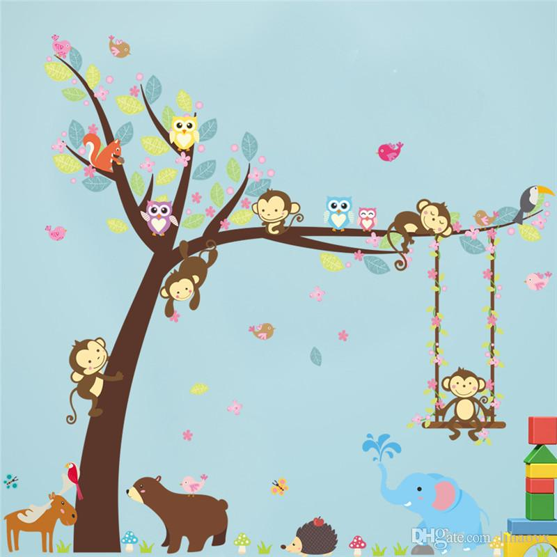 children wall stickers forest animals tree wall stickers for kids room monkey bear jungle VZAGTOB