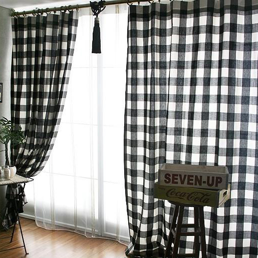 clearance black/white poly/cotton plaid curtains BWFVEQK