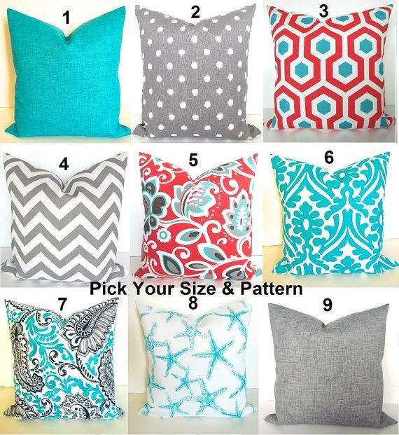coral outdoor pillows blue throw pillows grey decorative HMIRCFZ