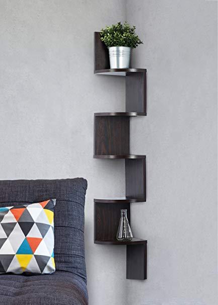 corner bookshelf corner shelf - espresso finish corner shelf unit - 5 tier RKQBDVX