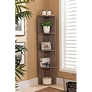 corner bookshelf kings brand furniture wood wall corner 5 tier bookshelf display stand, SAMBLAT