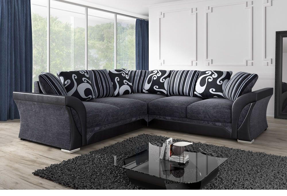 corner sofas black u0026 grey fabric corner sofa | sofa direct ZSINOIF