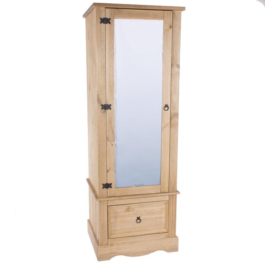 corona pine single wardrobe with mirrored door JILYTCT