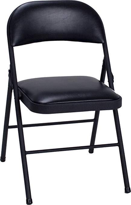 cosco vinyl folding chair black (4-pack) HLSVBTW