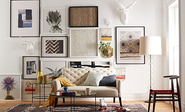 creative living room design view in gallery living room with a gallery wall XDKVCMY