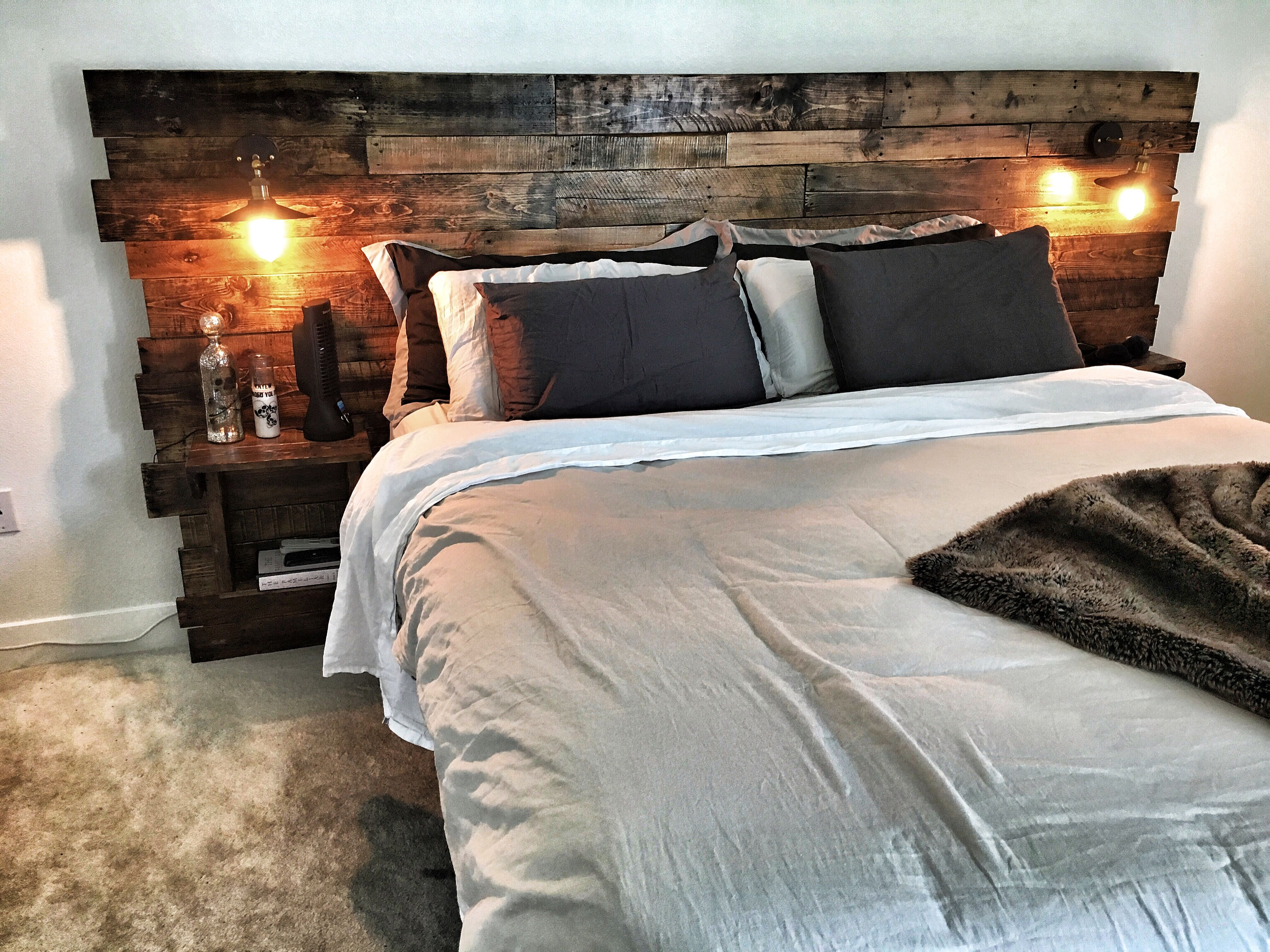 custom king size headboard with built in lights and shelving. natural MOICWWZ
