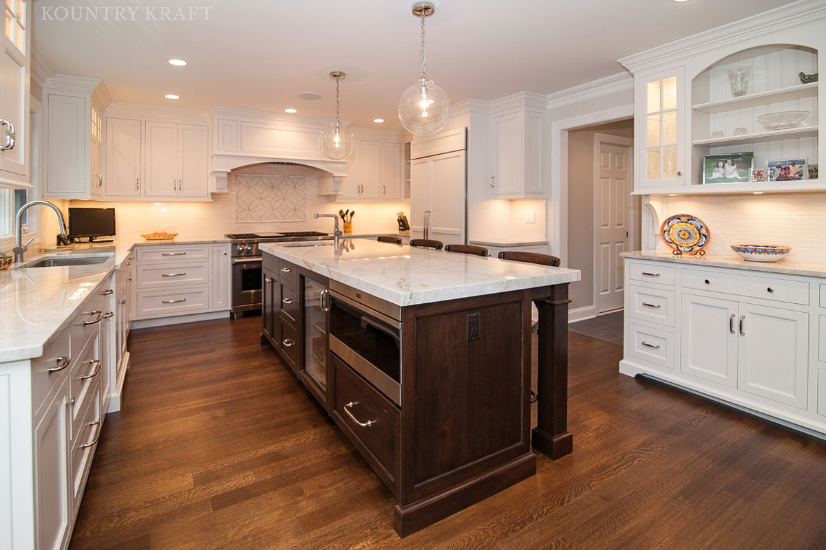 custom kitchen cabinets ... kitchen cabinet and island with english walnut stain madison, nj QOMYLQM