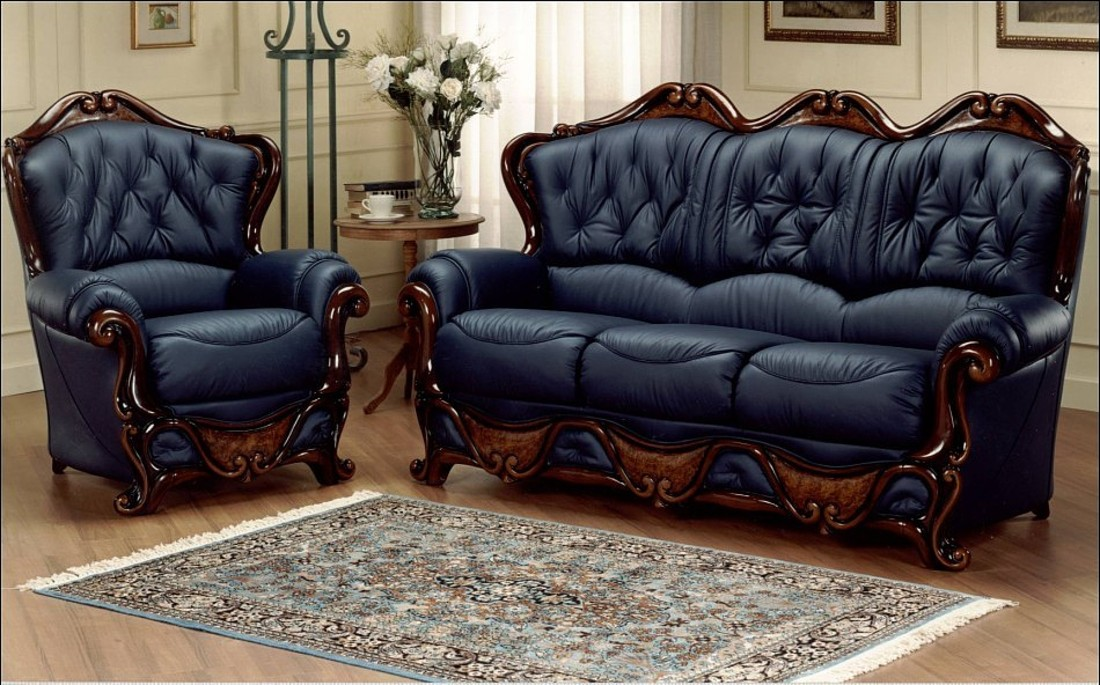 dante 3 seater + armchair italian leather sofa settee offer blue ZQDGJCB