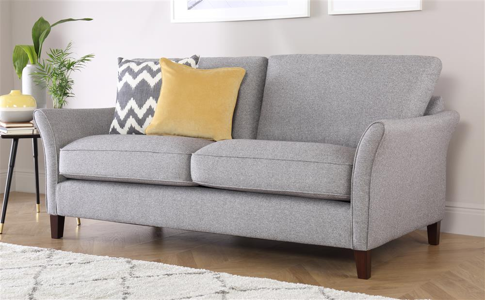 darwin grey fabric sofa 3 seater ... ODPZLGD