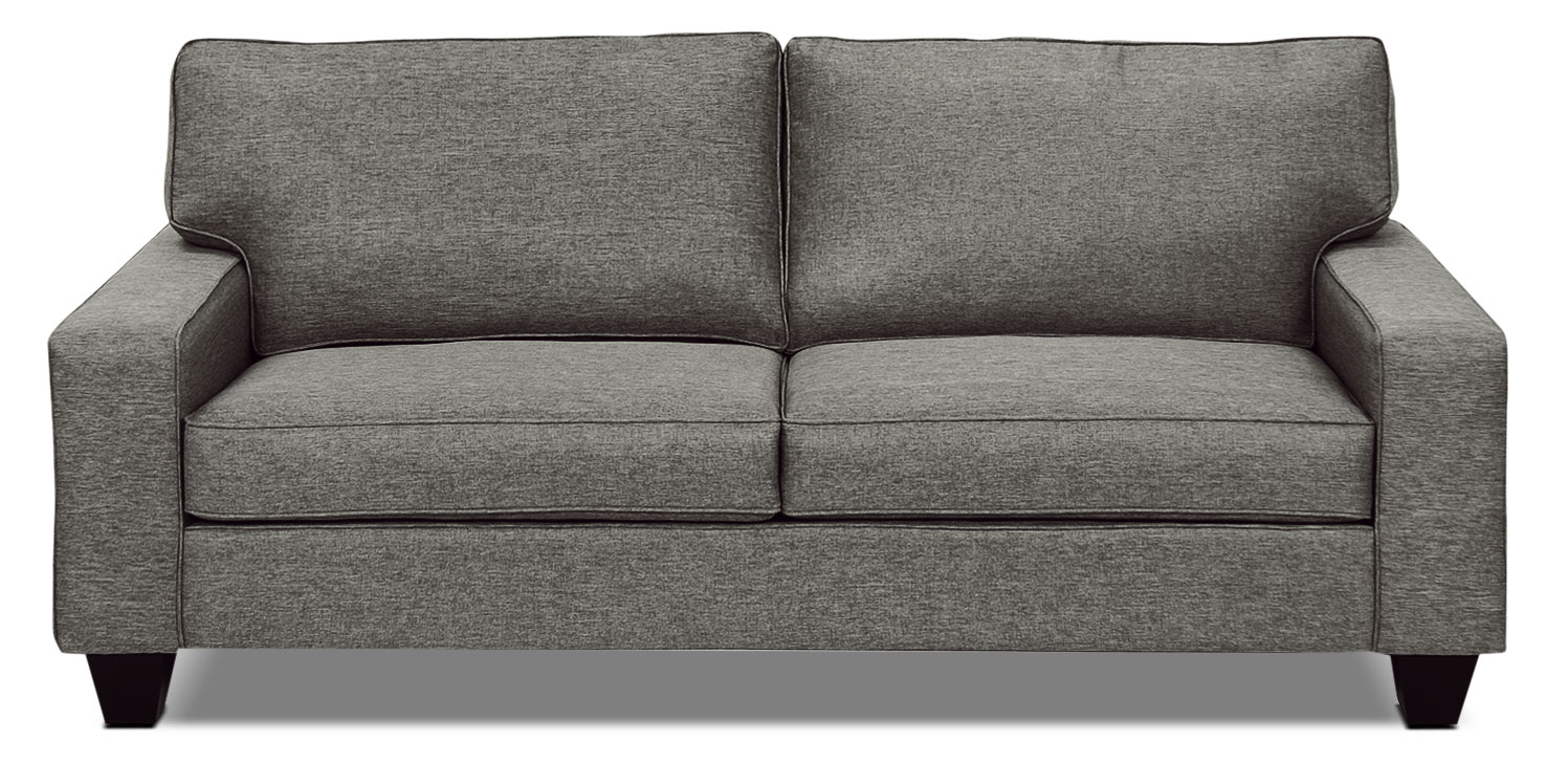 designed2b dax linen-look fabric sofa - sophisticate pepper DAJWLZY