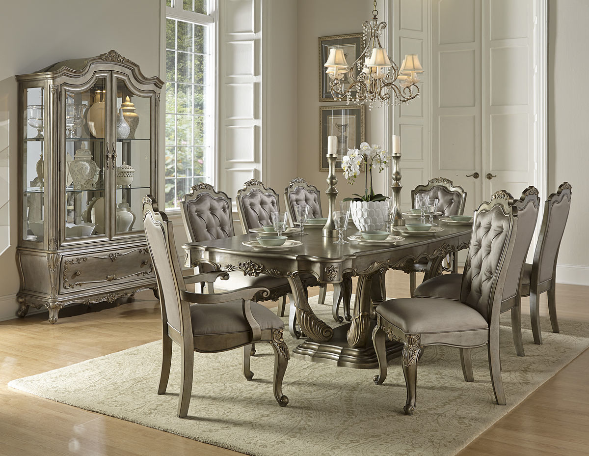 dining tables 1867-102 florentina 9 pc silver gold dining table set LCPNQDK