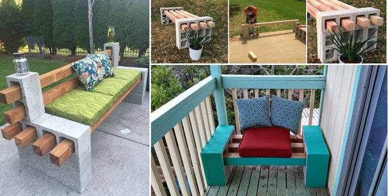 diy cinder block bench JBMWNRF