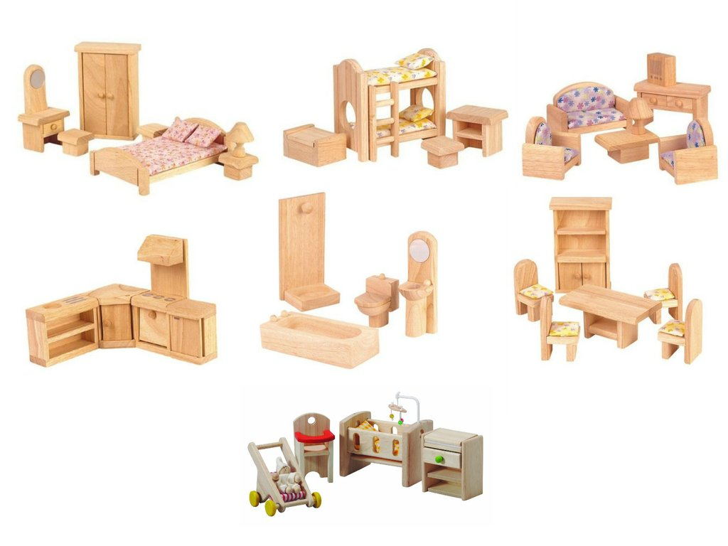 doll house furniture set 7 room dollhouse furniture set-elves u0026 angels WERYKMD