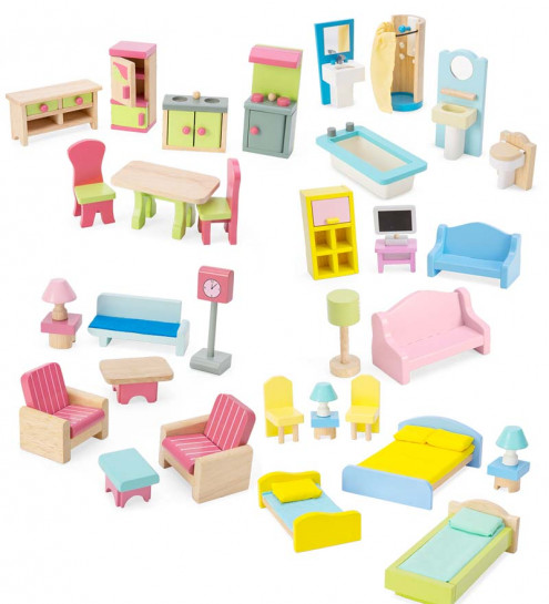 doll house furniture set dollhouse furniture (set of 35) | cwdkids YPNFGTN