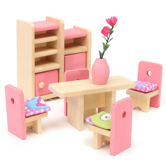 doll house furniture set wooden delicate dollhouse furniture toys miniature for kids children  pretend UASOWOO