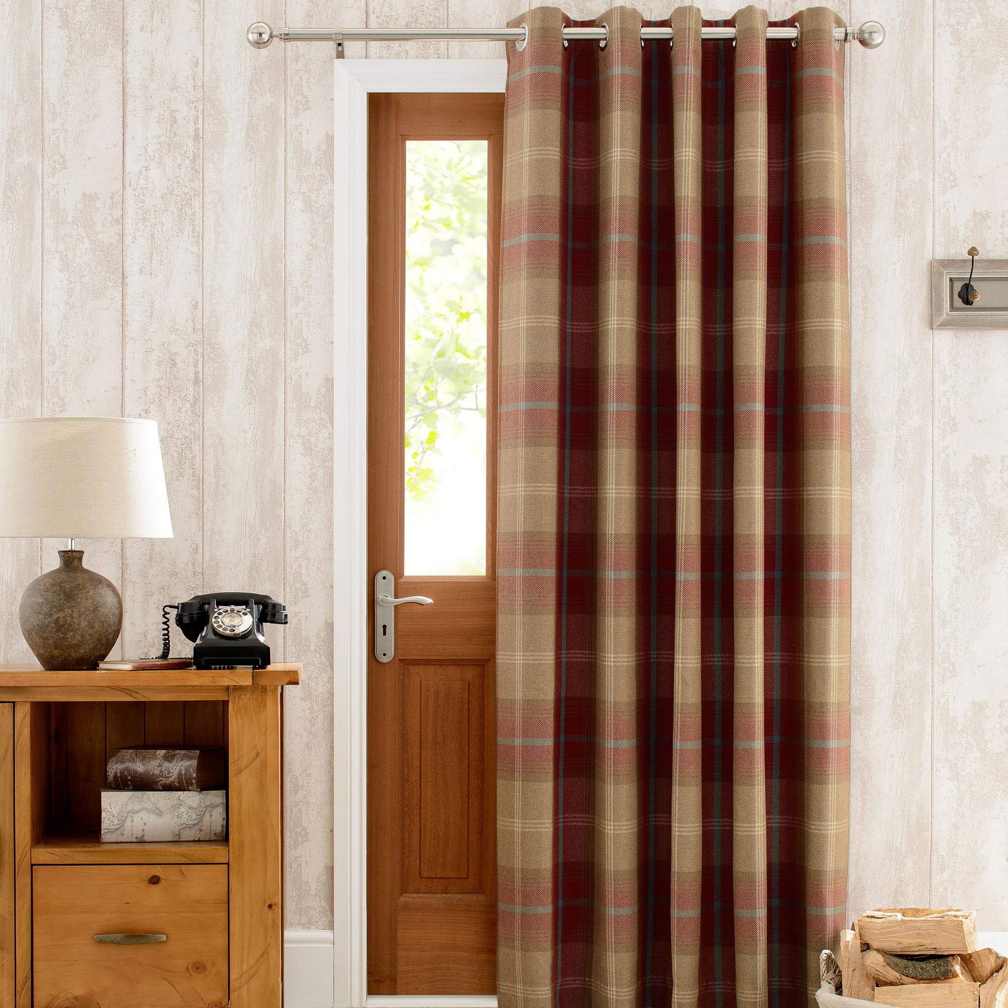 door curtains highland check wine lined eyelet door curtain XPTTFSK