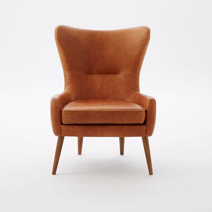 erik leather wing chair   west elm EFWFTZV