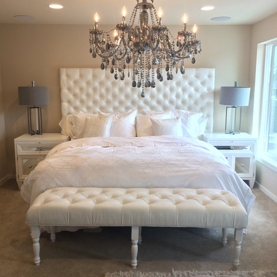 extra-wide king diamond tufted headboard and bench set in HZDHWHJ